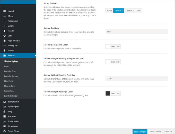 Sidebars Options